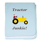 Yellow Tractor Junkie baby blanket