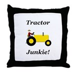 Yellow Tractor Junkie Throw Pillow