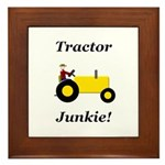 Yellow Tractor Junkie Framed Tile