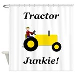 Yellow Tractor Junkie Shower Curtain
