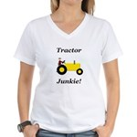 Yellow Tractor Junkie Women's V-Neck T-Shirt