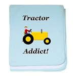 Yellow Tractor Addict baby blanket