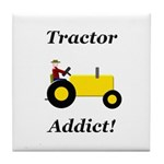 Yellow Tractor Addict Tile Coaster
