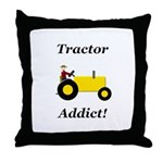 Yellow Tractor Addict Throw Pillow
