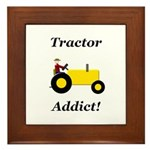 Yellow Tractor Addict Framed Tile