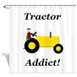 Yellow Tractor Addict Shower Curtain