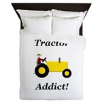 Yellow Tractor Addict Queen Duvet