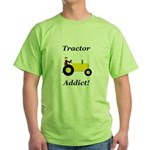 Yellow Tractor Addict Green T-Shirt