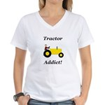 Yellow Tractor Addict Women's V-Neck T-Shirt