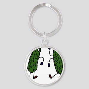 Funny Pickles Dancing Round Keychain