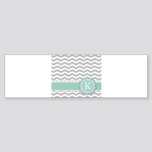 Letter K Mint Monogram Grey Chevron Bumper Sticker