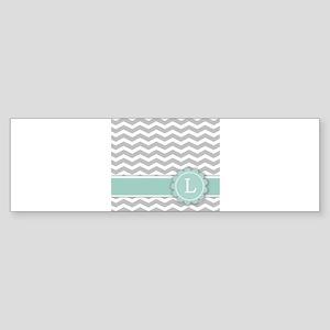 Letter L Mint Monogram Grey Chevron Bumper Sticker