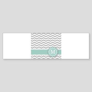 Letter M Mint Monogram Grey Chevron Bumper Sticker
