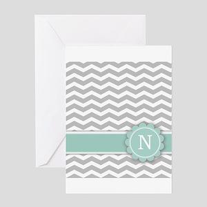 Letter N Mint Monogram Grey Chevron Greeting Cards