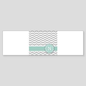 Letter N Mint Monogram Grey Chevron Bumper Sticker