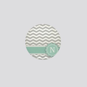 Letter N Mint Monogram Grey Chevron Mini Button