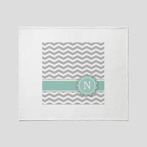 Letter N Mint Monogram Grey Chevron Throw Blanket
