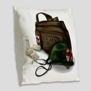 Army Medic Burlap Throw Pillow