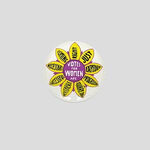 Suffragette Voting flower design Mini Button