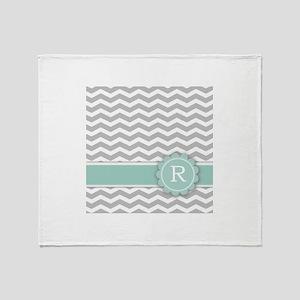 Letter R Mint Monogram Grey Chevron Throw Blanket