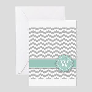 Letter W Mint Monogram Grey Chevron Greeting Cards