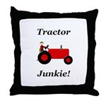 Red Tractor Junkie Throw Pillow