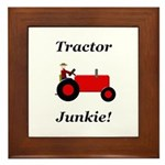 Red Tractor Junkie Framed Tile