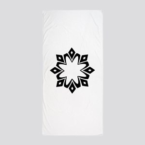 Black Floral Family Crest Designer Beach Towel