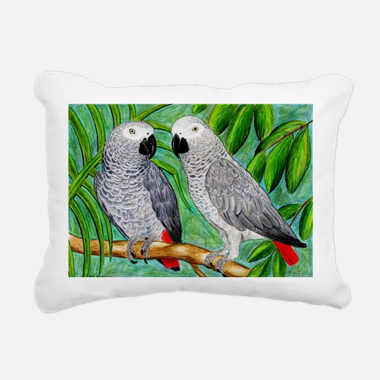 African Greys Rectangular Canvas Pillow
