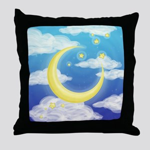 Moon Blue Throw Pillow