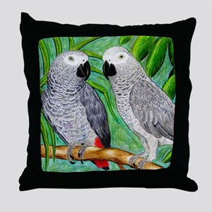 African Greys Throw Pillow