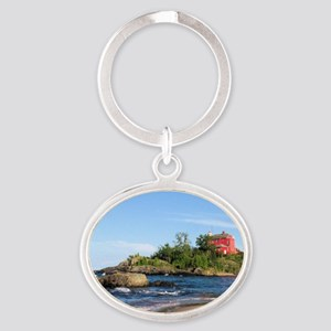 Marquette's red light house Oval Keychain