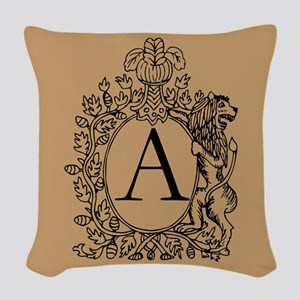 Warm Beige Lion Monogram Woven Throw Pillow