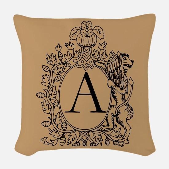 Warm Beige Lion Monogram Woven Throw Pillow