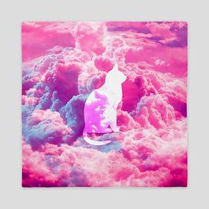 Girly Cute Cat Vector Bright Pink Clou Queen Duvet