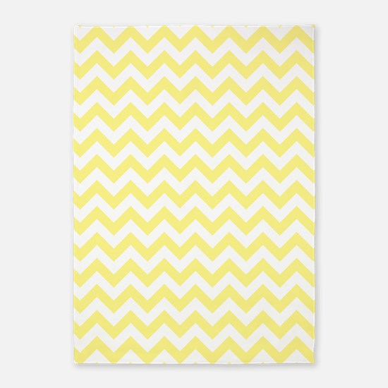 Light Yellow and White ZigZag 5'x7'Area Rug