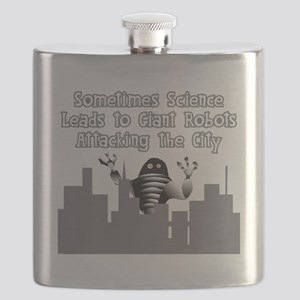 Giant Robots Attacking the City Flask