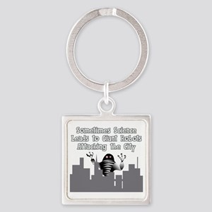Giant Robots Attacking the City Square Keychain