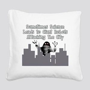Giant Robots Attacking the Ci Square Canvas Pillow