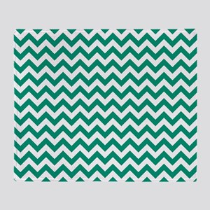 Emerald Green and White ZigZag Throw Blanket