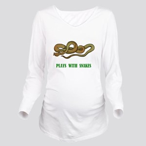 plays-with-snakes.t... Long Sleeve Maternity T-Shi