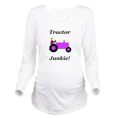 Purple Tractor Junkie Long Sleeve Maternity T-Shir