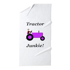 Purple Tractor Junkie Beach Towel