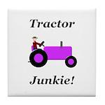Purple Tractor Junkie Tile Coaster