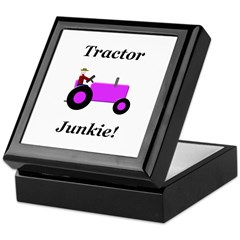 Purple Tractor Junkie Keepsake Box