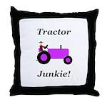 Purple Tractor Junkie Throw Pillow
