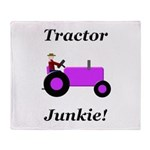 Purple Tractor Junkie Throw Blanket