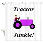 Purple Tractor Junkie Shower Curtain