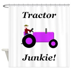 Purple Tractor Junkie Shower Curtain