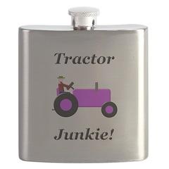 Purple Tractor Junkie Flask